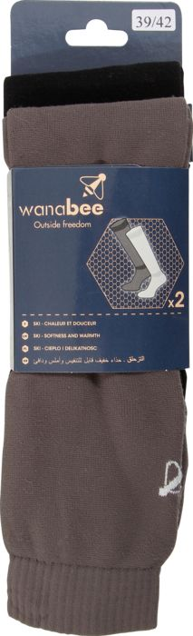 Chaussettes - WANABEE - Polaire adx2 - Anthracite/noir Homme 35/38