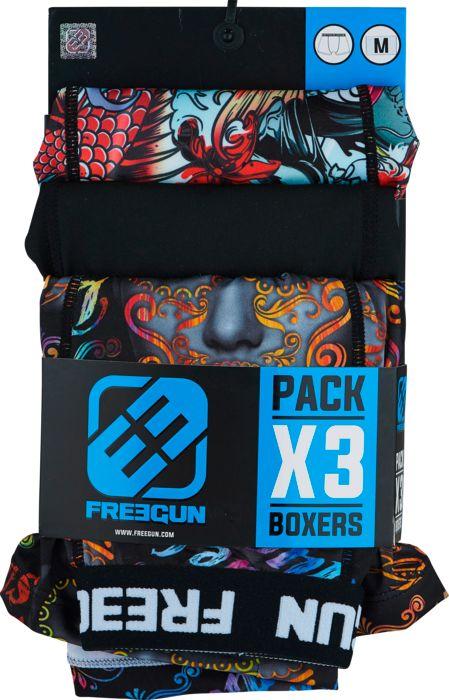 Image of Boxer - FREEGUN - Boxer lot de 3 rdc - Bleu/rouge L