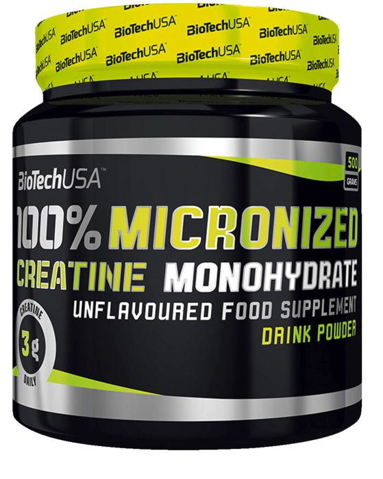 Créatine - BIO TECH USA - 100% Creatine Monohydrate 500g - Noir