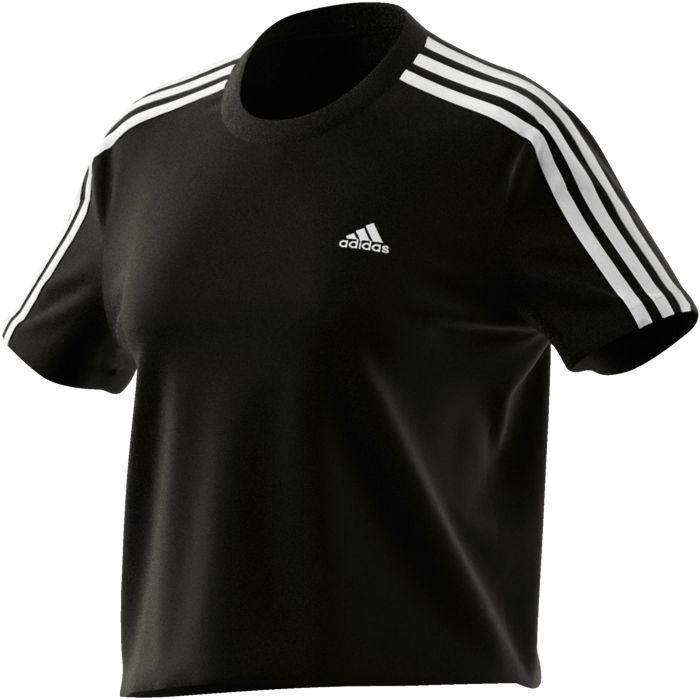 Tee Shirt Mc - ADIDAS - Crop 3 Bandes - Noir Femme XL