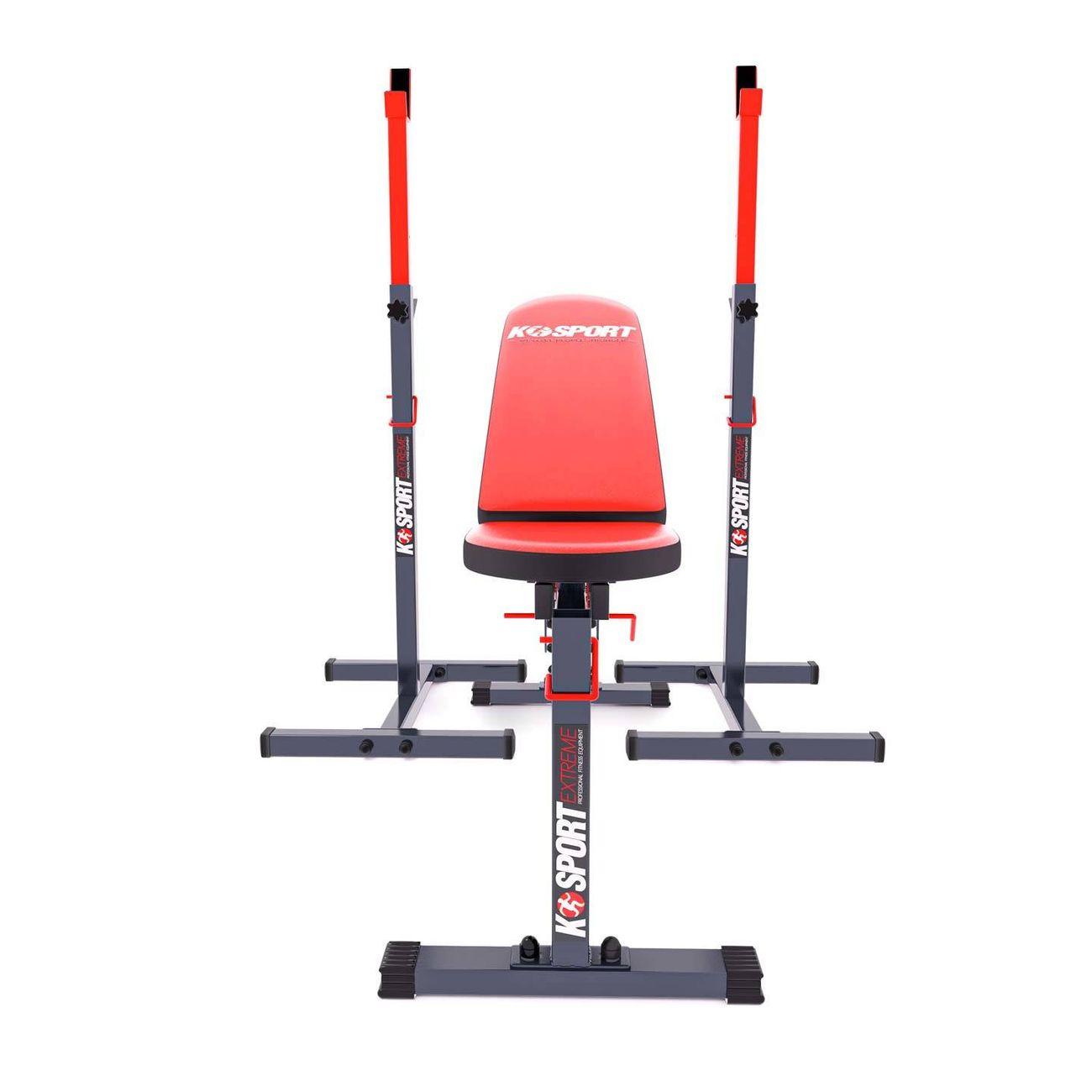 K-Sport Banc d'entraînement inclinable + Support pour barre musculation KSSL098