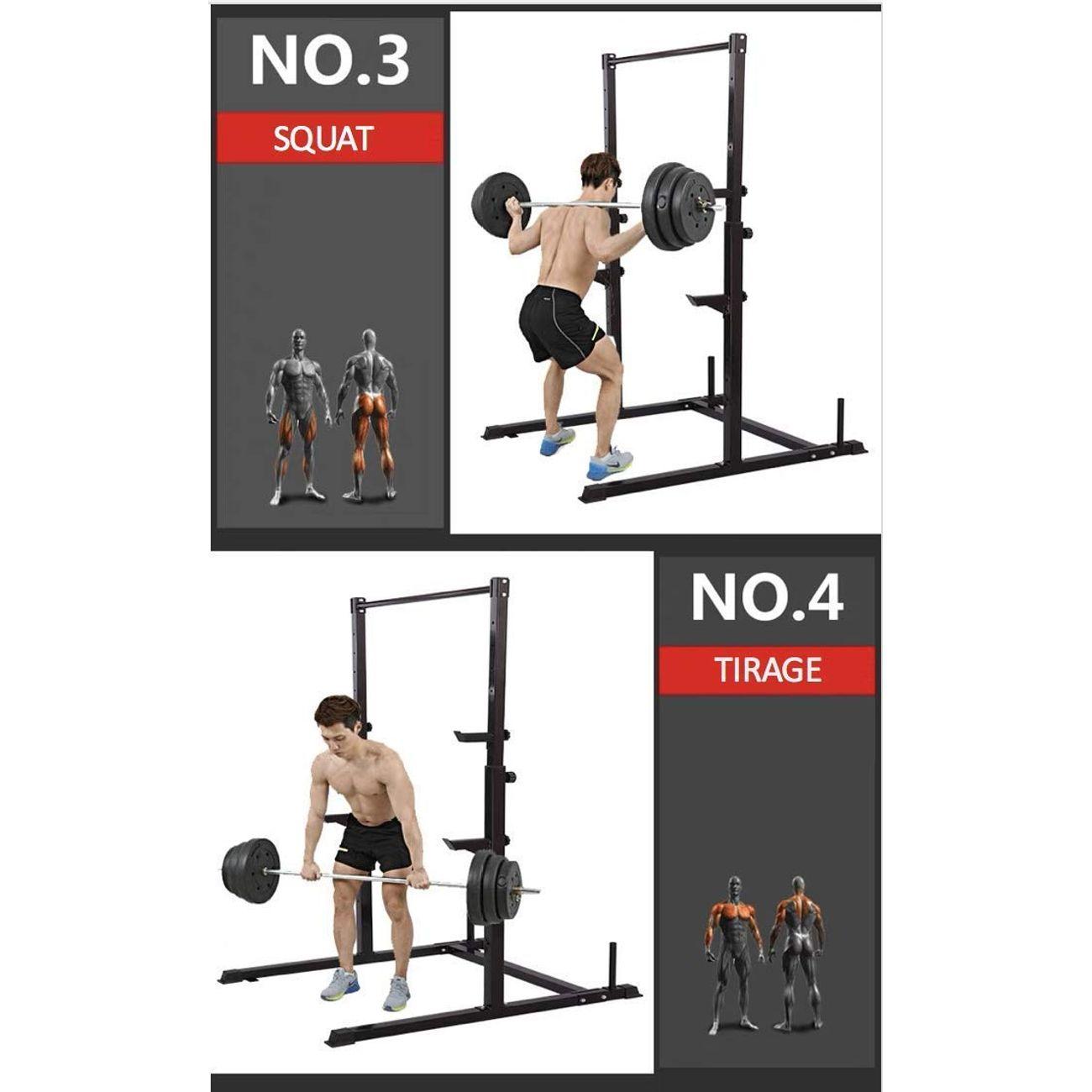 PLAYH Rack De Musculation Squat Traction,Charge 250kg,Barbell Rack,Support De Levage R/églable Largeur Et Hauteur Durable Et Robuste Home Squat Bracket Support Dhalt/érophilie Barbell