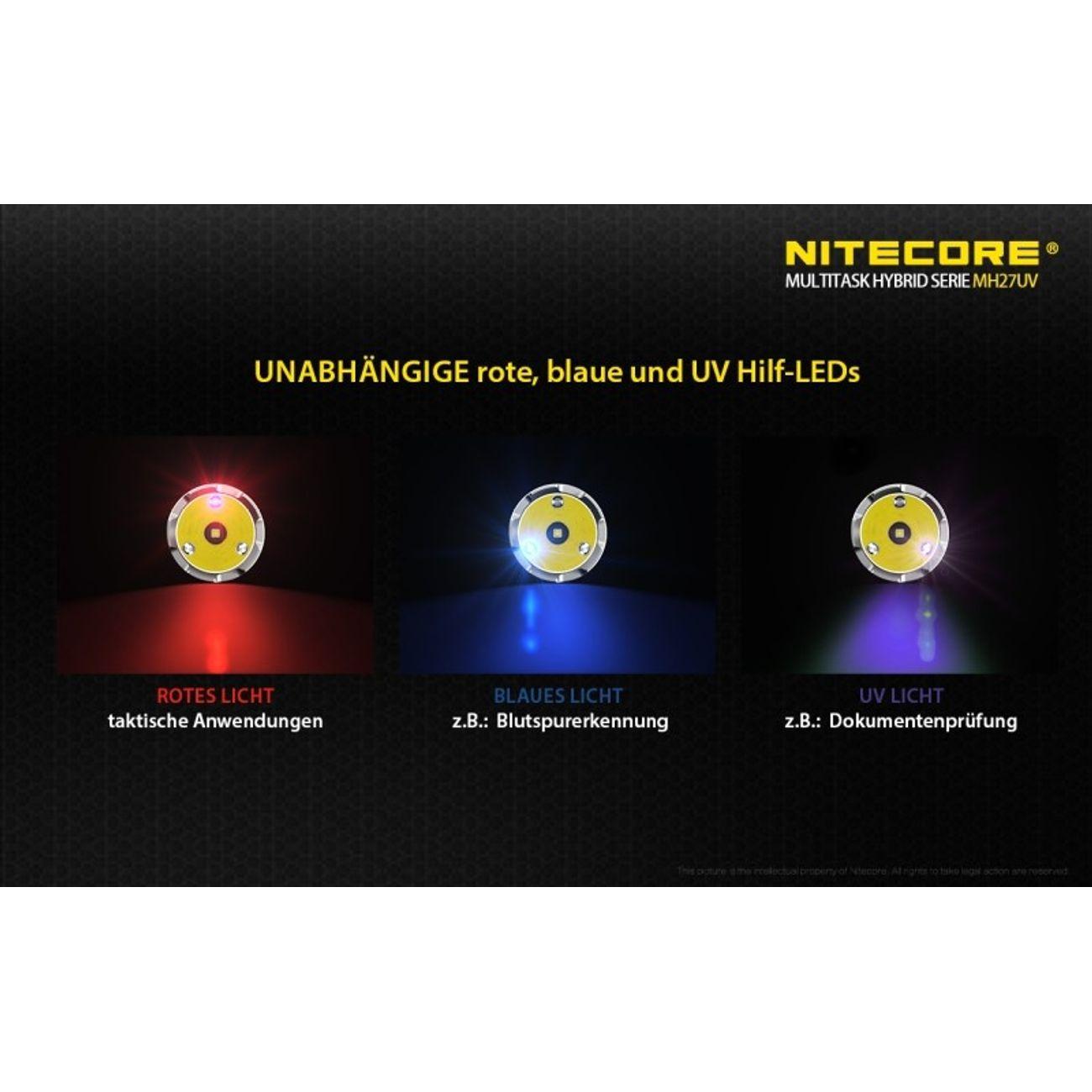 Course à pied homme NITECORE Nitecore Lampe de poche MH27UV max. 1000 lumens
