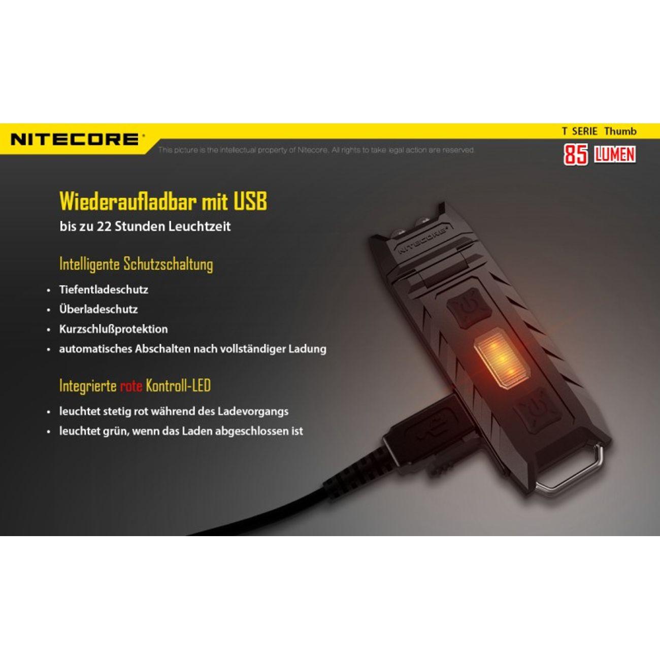 Course à pied homme NITECORE NiteCore Pouce lampe porte-clés 85 lumens
