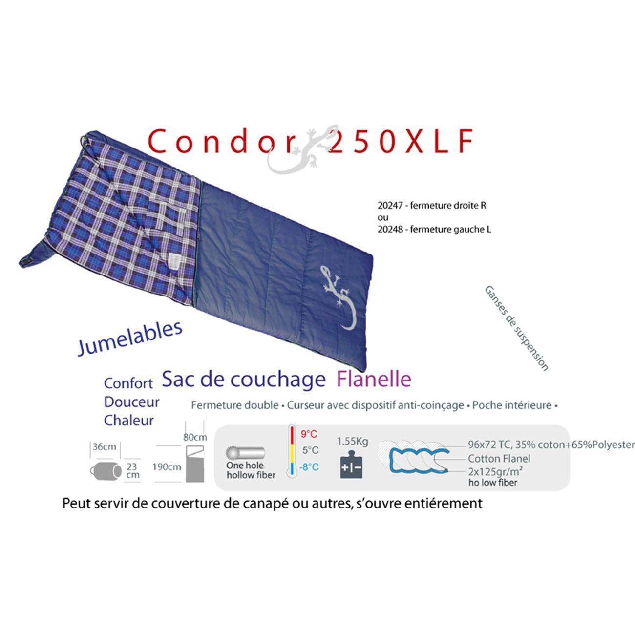 Camping  FREETIME CONDOR 250xlf-Flanelle - Sac de couchage pour camping - Sac couchage couvertures -zip Droit