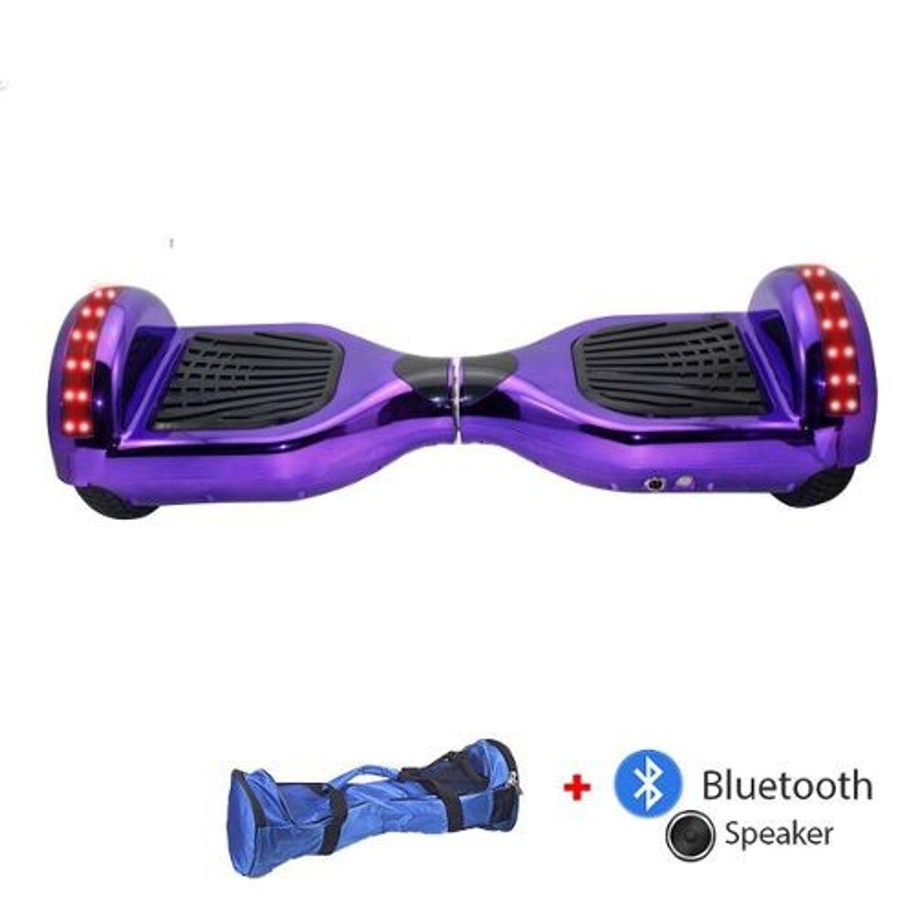 Glisse urbaine  AIR RISE Hoverboard  6,5 Pouces LED Violet avec Bluetooth sac de transport et télécommande