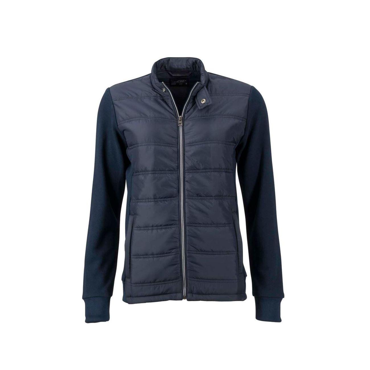 Sports d'hiver femme JAMES & NICHOLSON Veste hybride style sweat JN1123 bleu marine Doudoune Femme