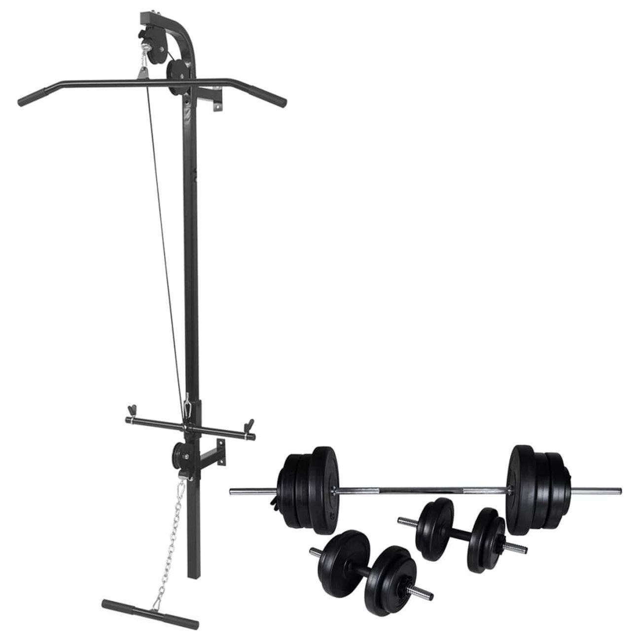GENERIQUE Icaverne - Machines d'haltérophilie et supports pour barres ligne Tour de musculation murale avec jeu d'haltères et poids 60,5 kg