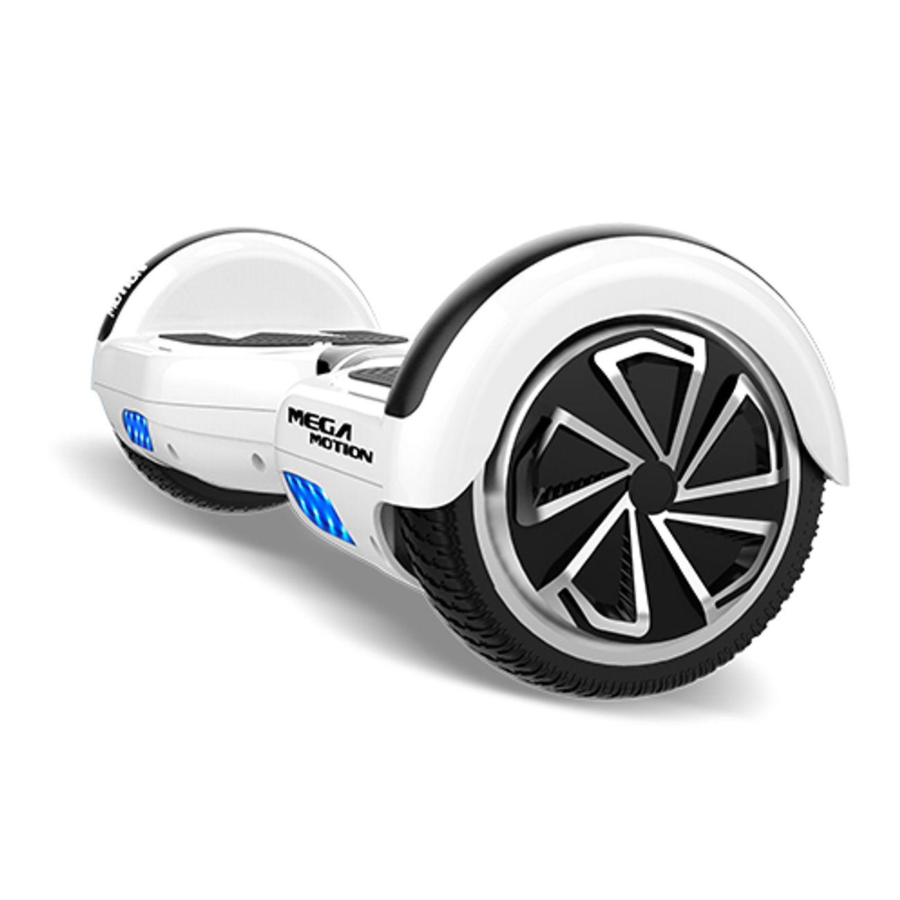 MEGA MOTION Mega Motion Hoverboard bluetooth 6.5 pouces, M1 hoverboard Blanc + Hoverkart noir, Gyropode Overboard Smart Scooter certifié, Kit kart