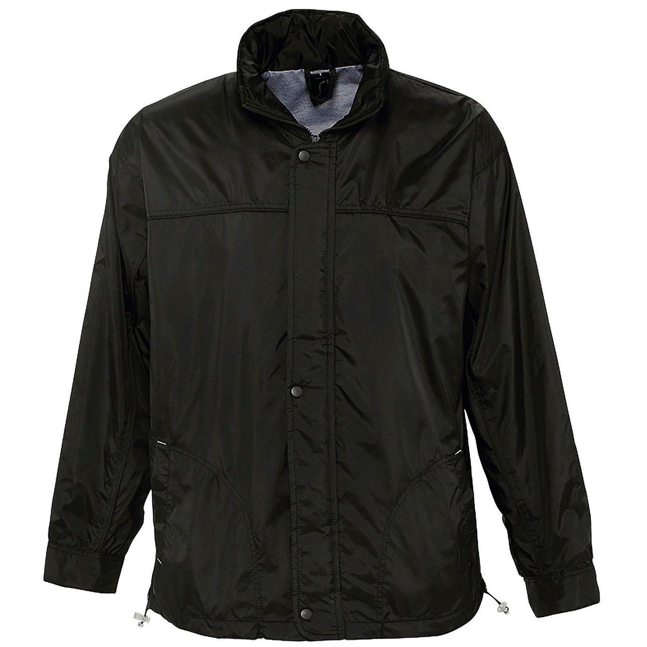 Petite randonnée homme SOL S Veste coupe-vent imperméable doublé jersey - 46000 - noir - mixte homme femme