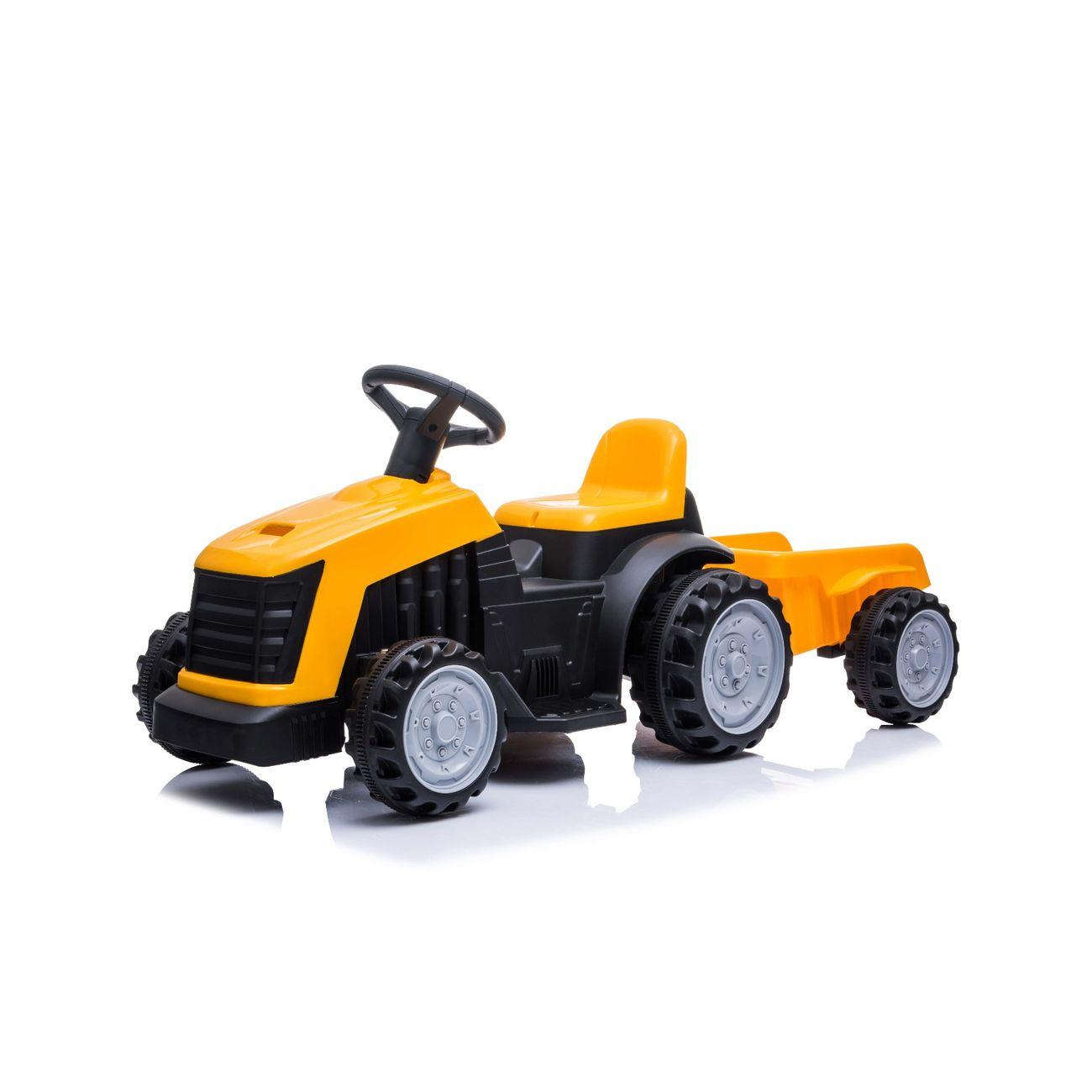 Play4Fun Tracteur électrique avec remorque 22W pour Enfant 3km/h - Jaune