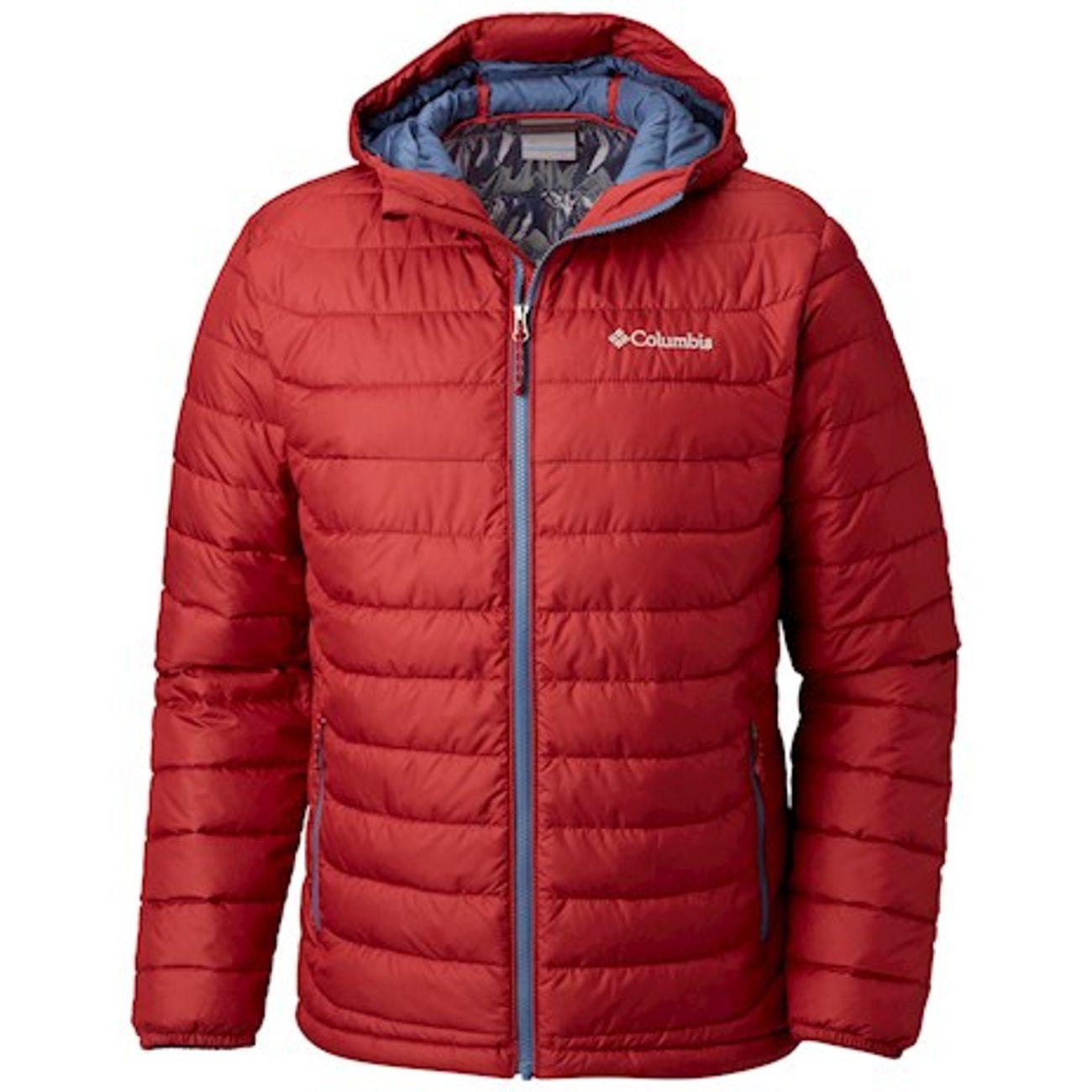 Veste Columbia Powder Lite Hooded rouge gris foncé – achat