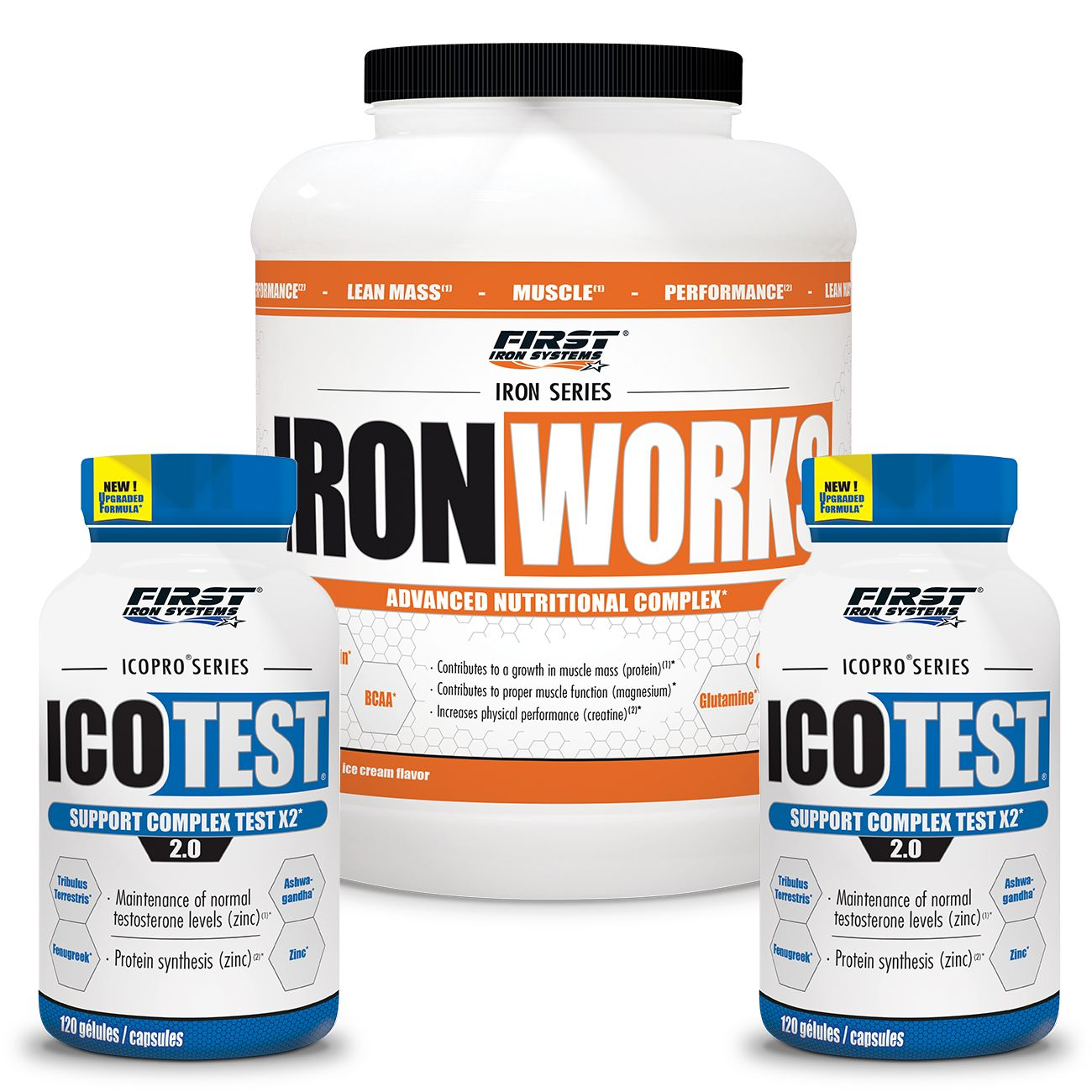 FIRST IRON SYSTEMS PACK 4 : 1 IRON WORKS 2,2KG + 2 ICOTEST 2.0