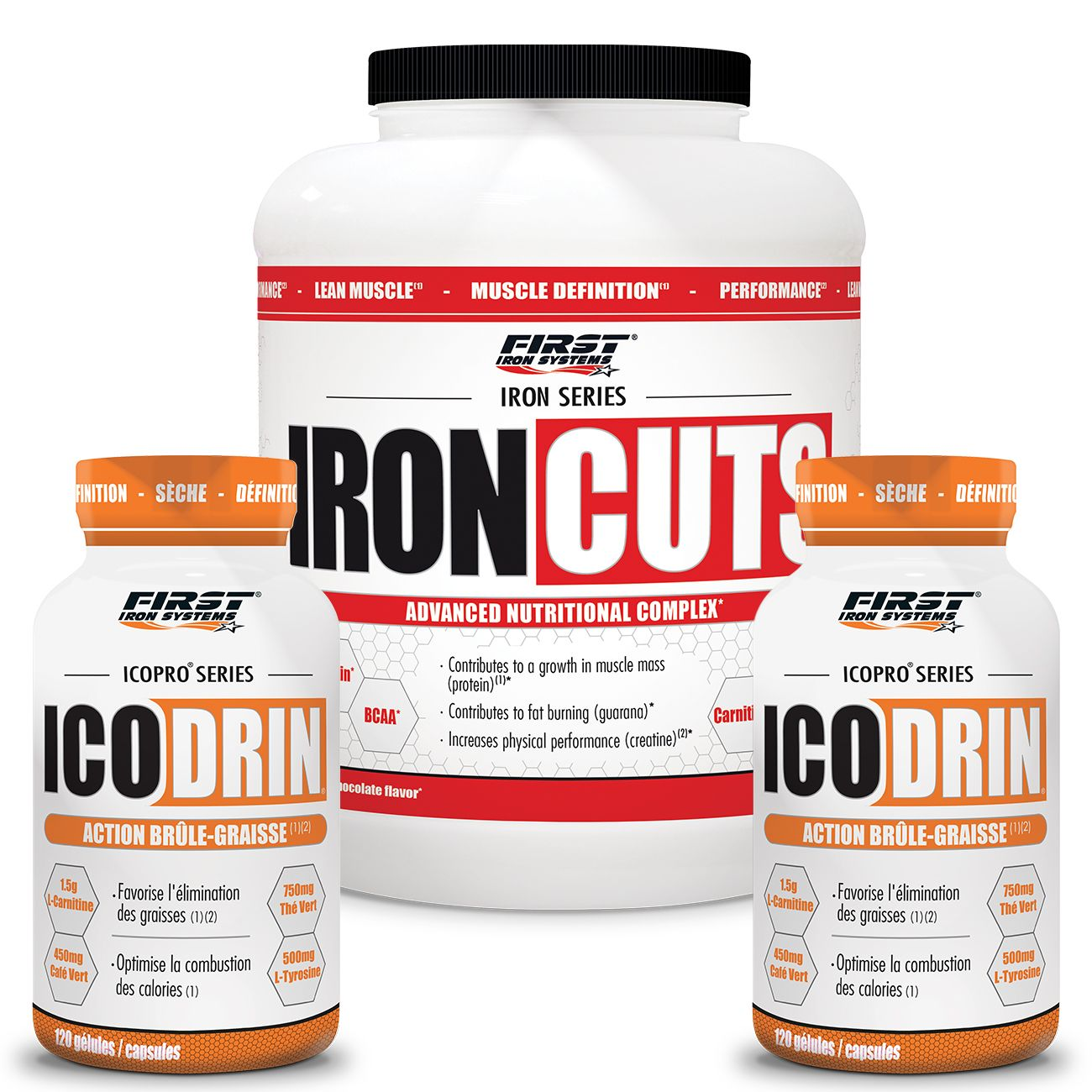 FIRST IRON SYSTEMS PACK 6 : 2 ICODRIN + 1 IRON  CUTS 2,2KG