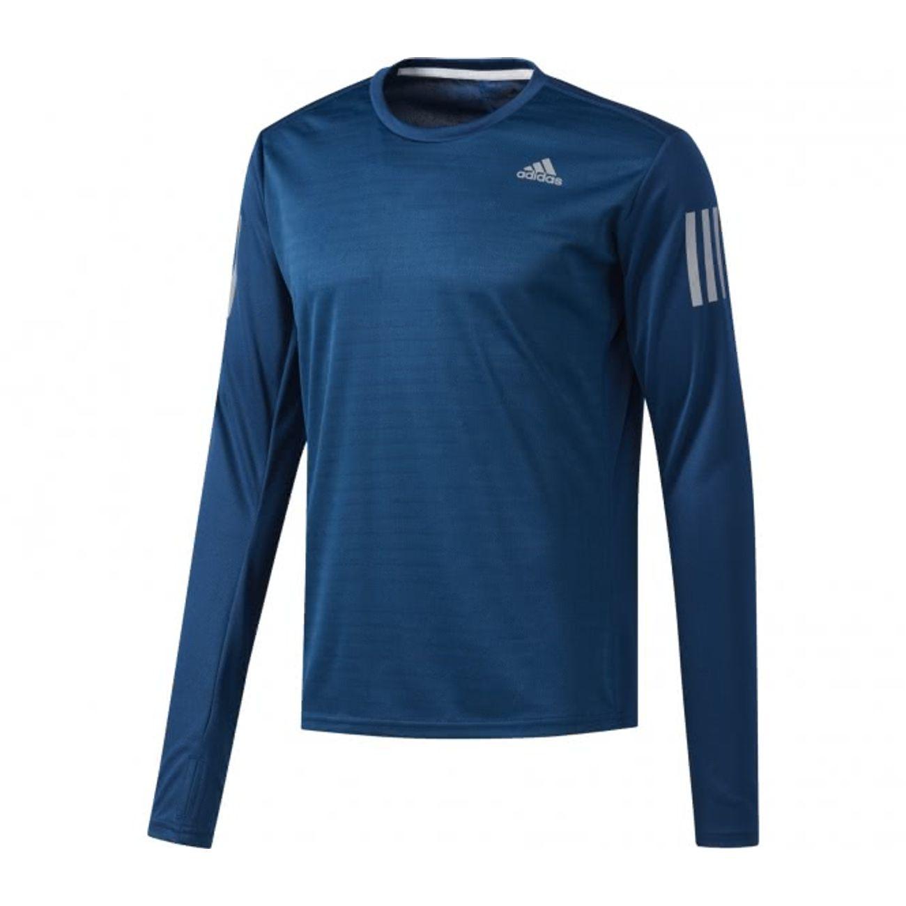 t shirt de sport manche longue adidas bleu homme