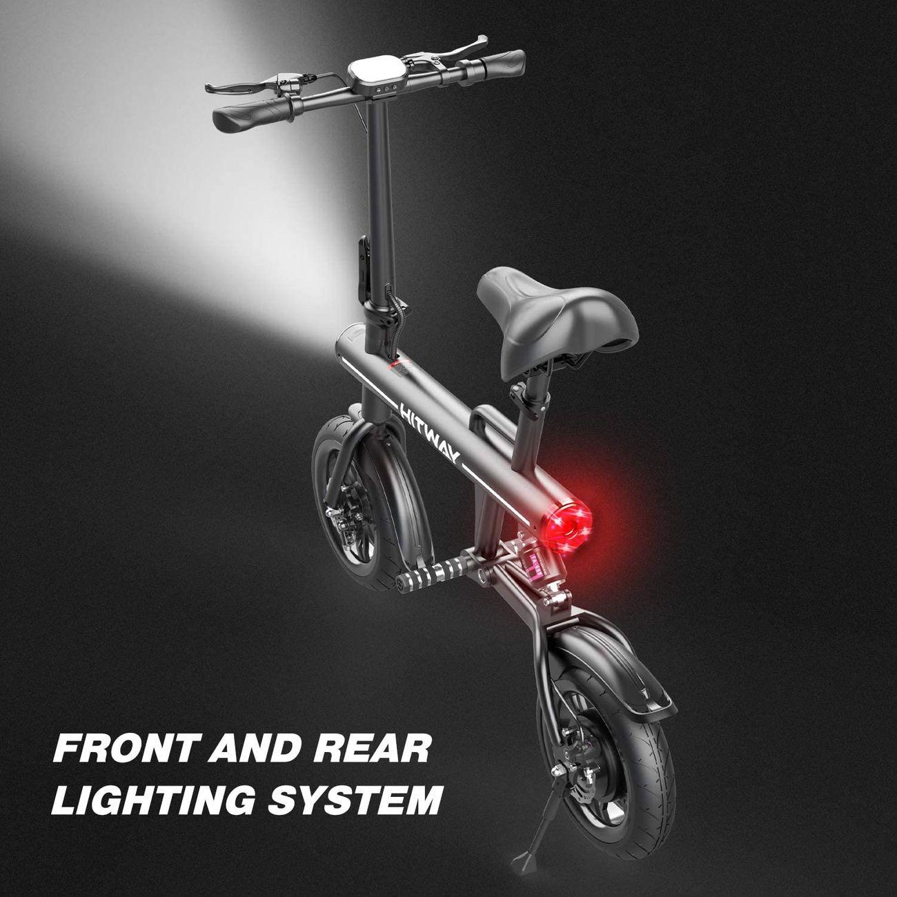 COOL&FUN HITWAY Pliant E-Bike pour Adultes, Scooter électrique 250W Batterie de Moteur sans Balai 7.5Ah 3 Modes de Vitesse Max. Pneu pneumatique Vitesse 25KM / H