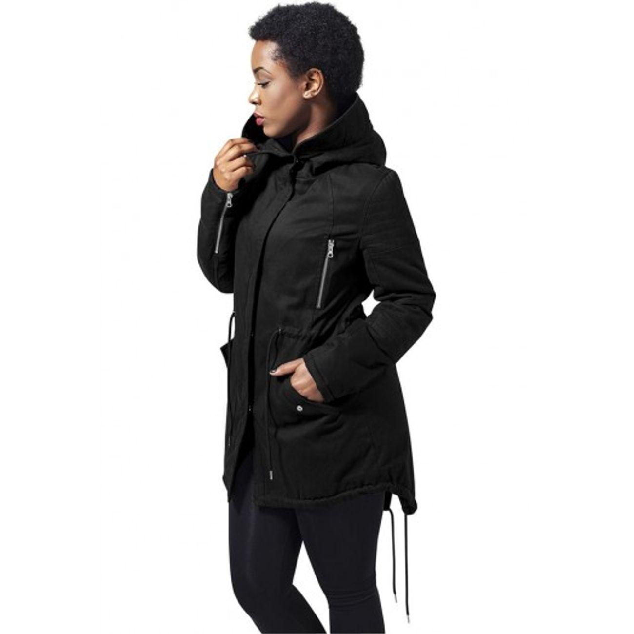 Parka femme urban classics noir doublure sherpa queue de - Veste queue de pie homme pas cher ...