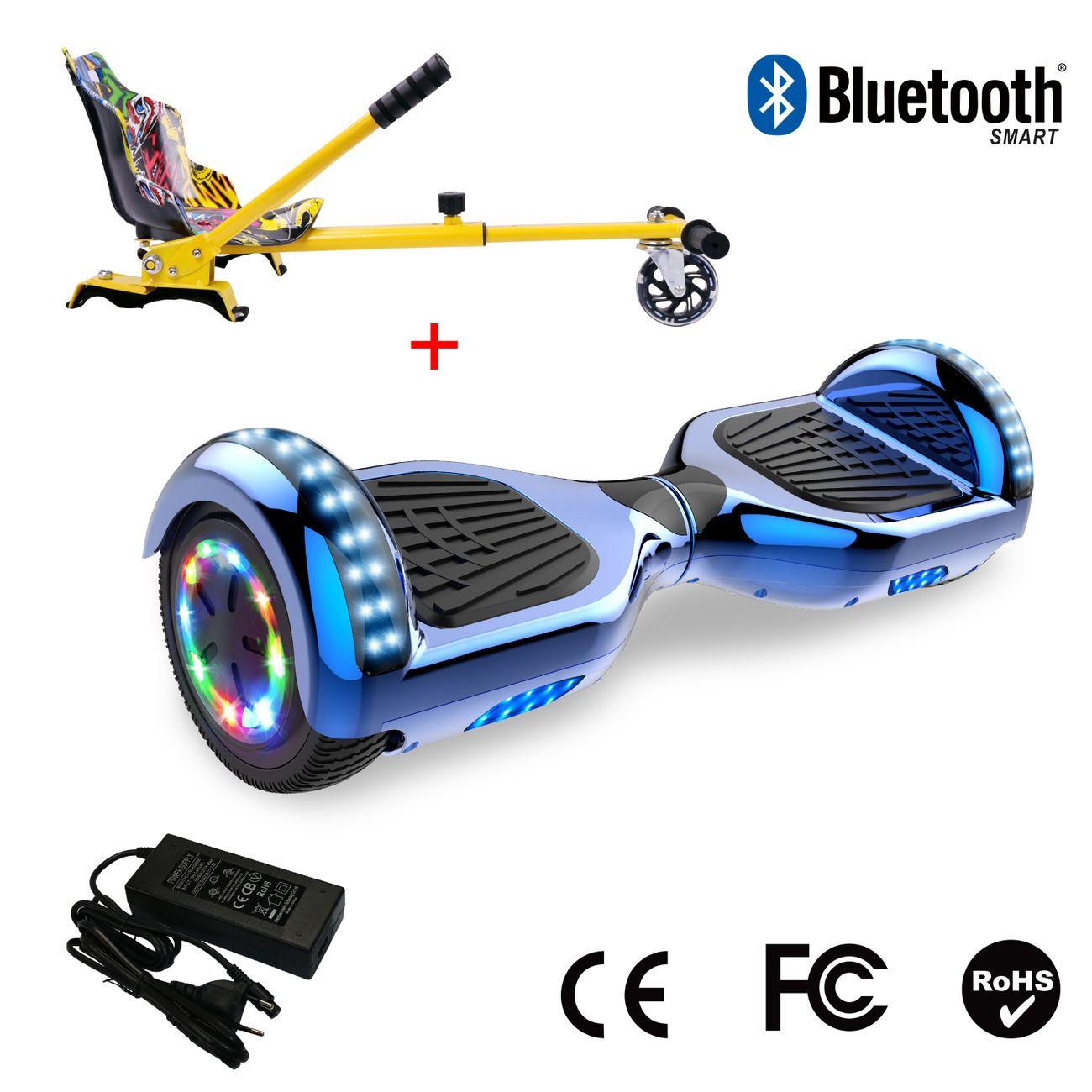 Glisse urbaine  COOL&FUN Cool&Fun Hoverboard 6.5 Pouces avec Bluetooth Bleu + Hoverkart Hip, Gyropode Overboard Smart Scooter certifié, Pneu à LED de couleur, Kit kart