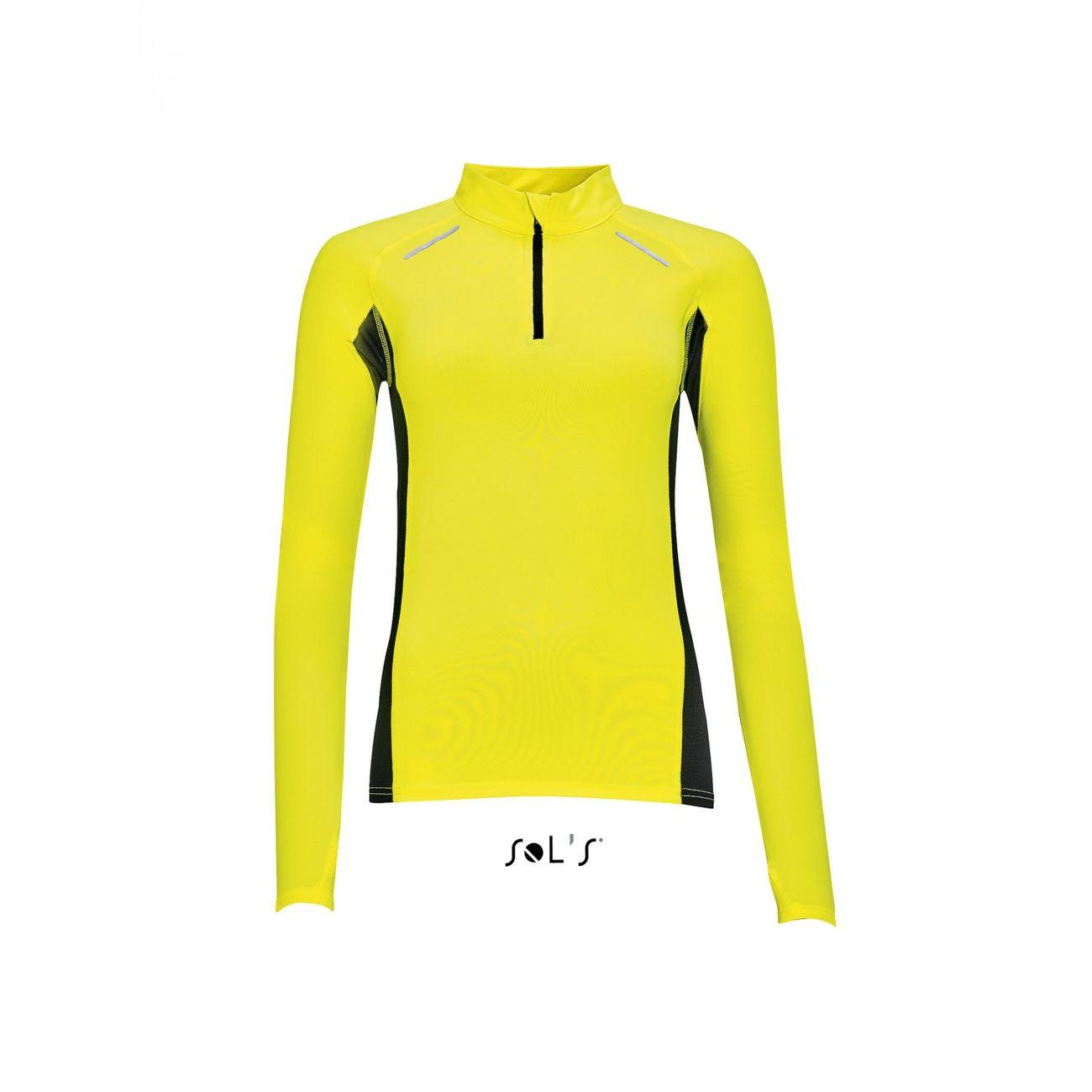 running femme SOL S t-shirt running manches longues - Femme - 01417 - jaune fluo