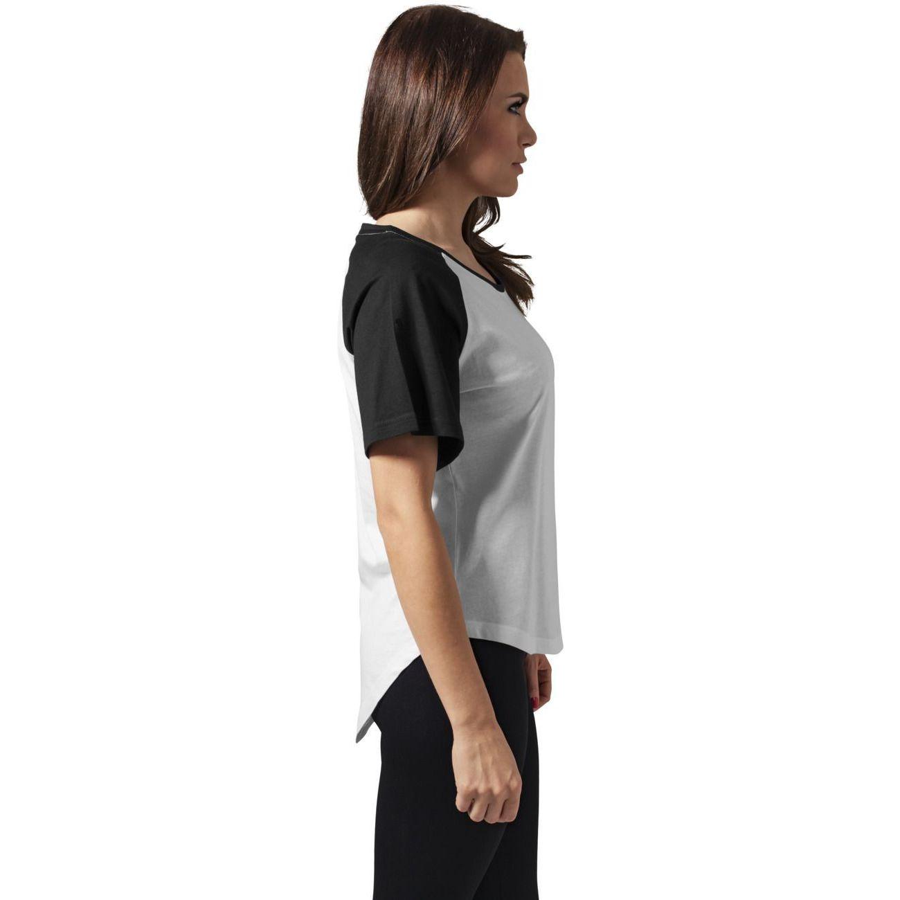Mode- Lifestyle femme URBAN CLASSICS T-shirt Raglan Urban Classics HiLo Blanc Noir