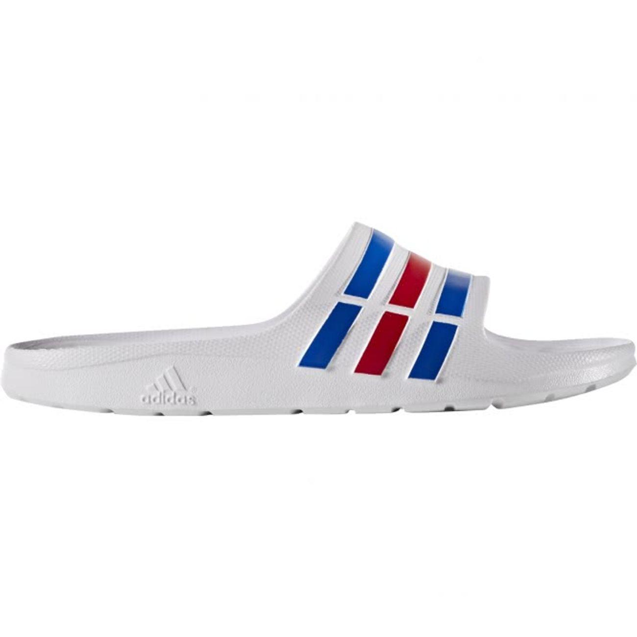 reputable site b3ec9 3557f homme ADIDAS Adidas - Duramo Slide flipflops pour hommes (blanc bleu)