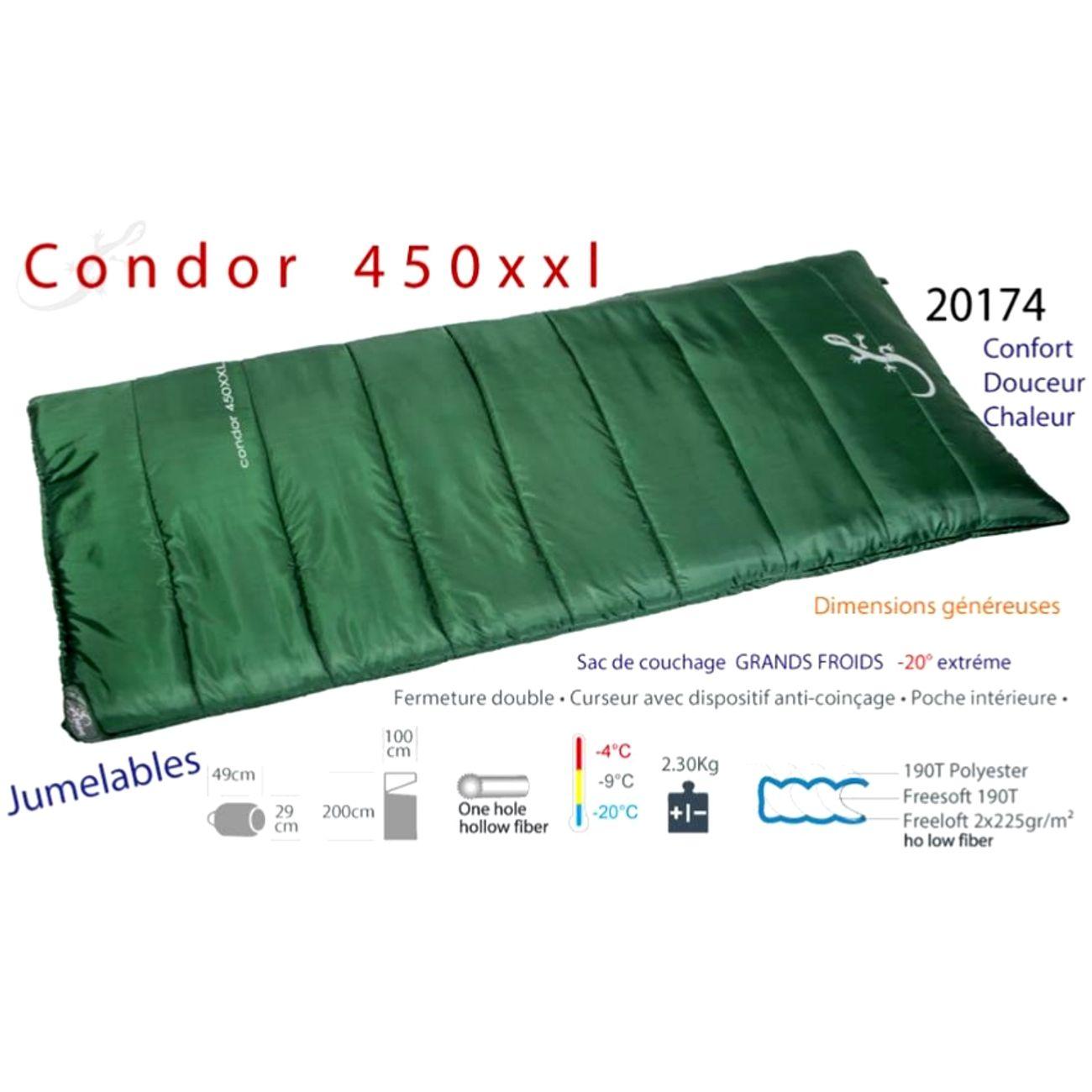 Camping  FREETIME Condor 450xxl CONDOR 450xxl -Sac de couchage grand froid -20°C - grand sac de couchage couverture-Freetime