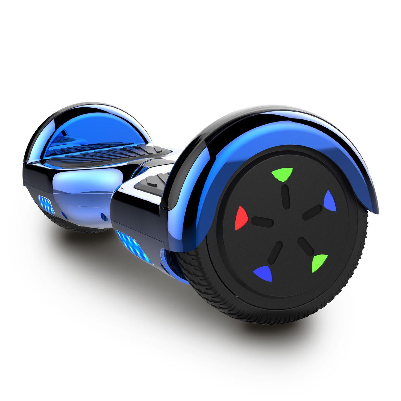 Glisse urbaine  COOL&FUN Cool&Fun Hoverboard 6.5 Pouces, Gyropode avec Bluetooth et Pneu à LED de couleur, Overboard Bleu Chromé