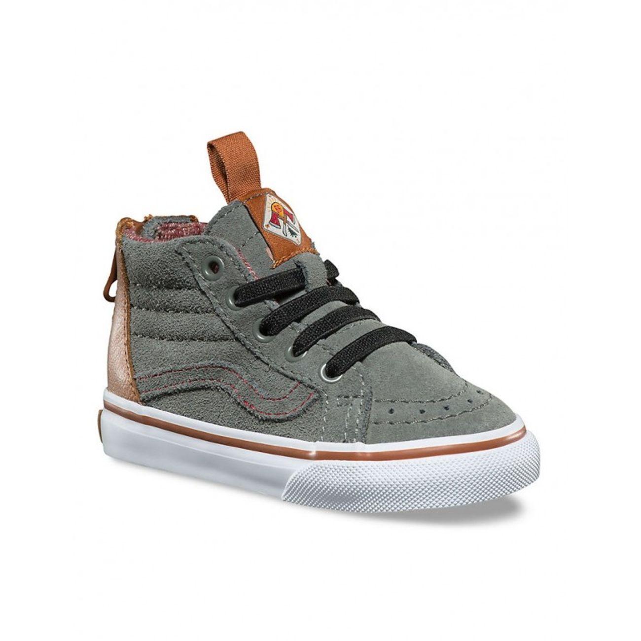 Mode- Lifestyle garçon VANS Chaussures Vans T Sk8-Hi Zip Mte - Castor Grey