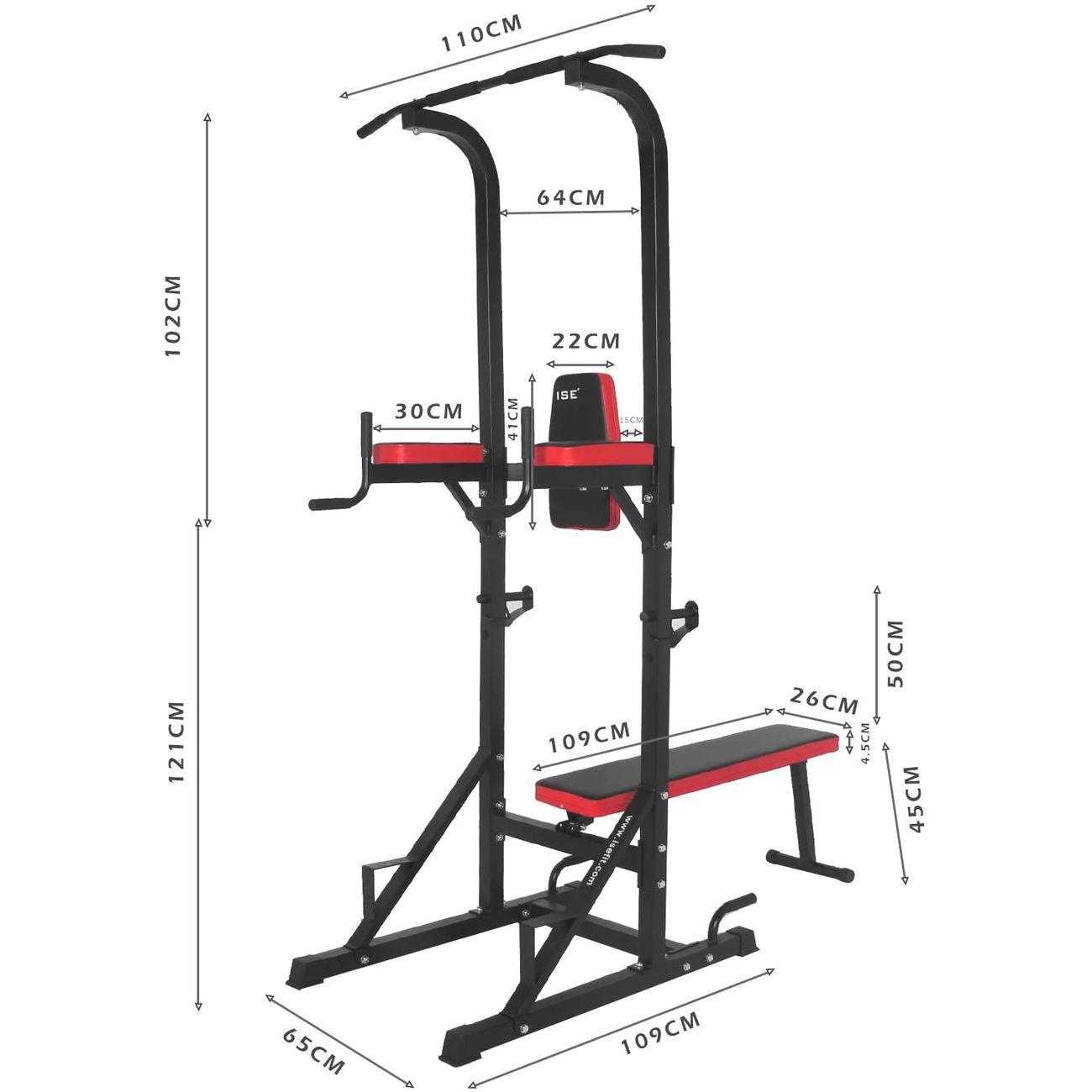 Musculation  ISE ISE Chaise Romaine Multifonction Barre de Traction Station avec Banc de Musculation pour Dips, Pompes, Développé-Couchés, SY-4006