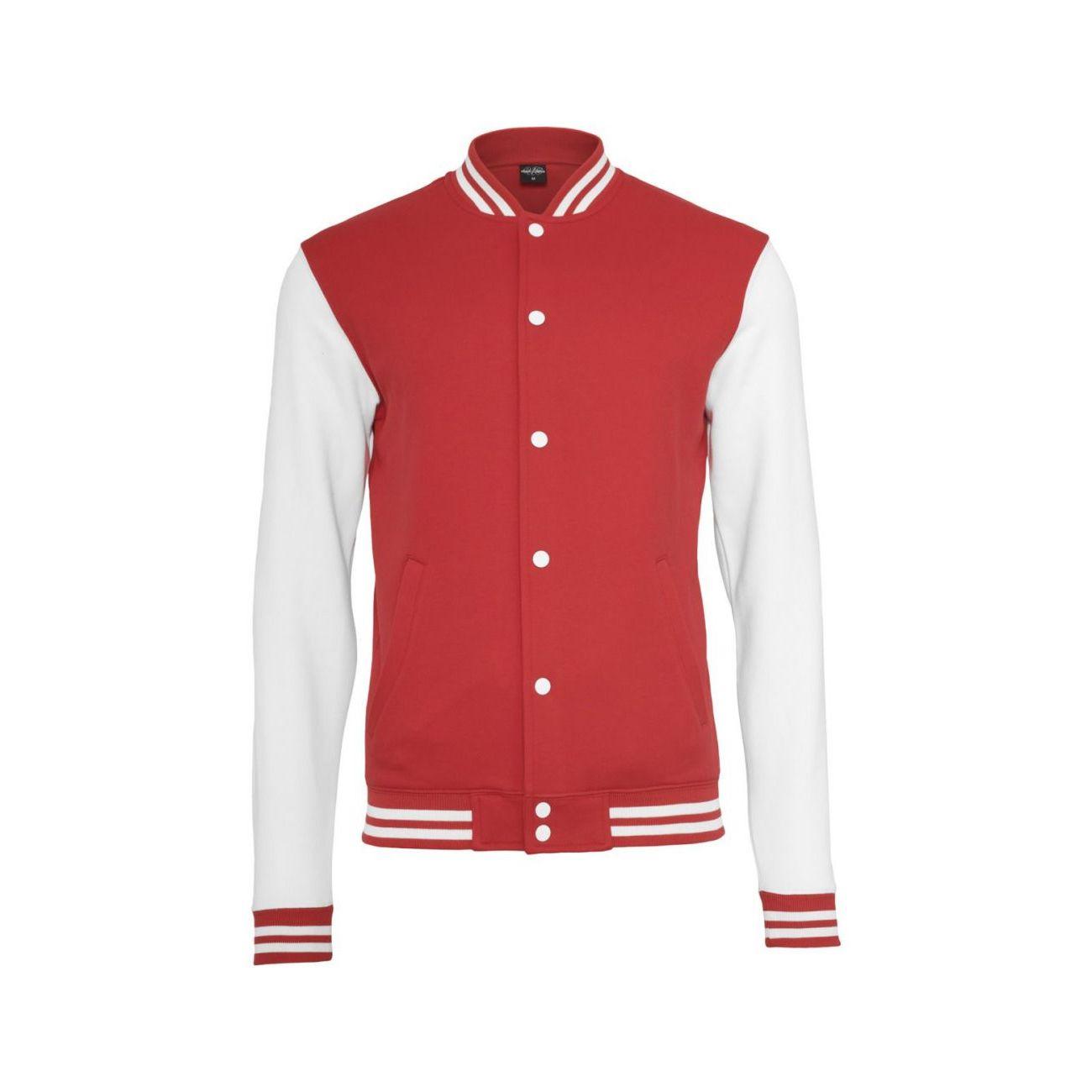 Blanc College Urban Classics Adulte Mode Style Lifestyle Tone 2 Rouge Teddy Veste NOymw0nv8