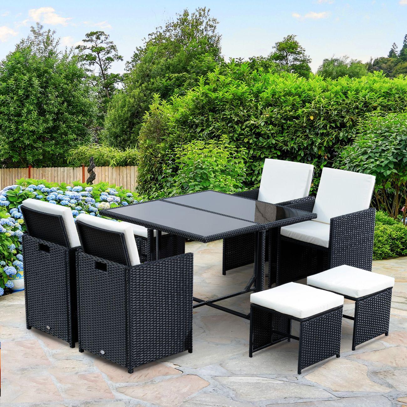 Ensemble salon de jardin encastrable 8 places 4 fauteuils monoblocs ...