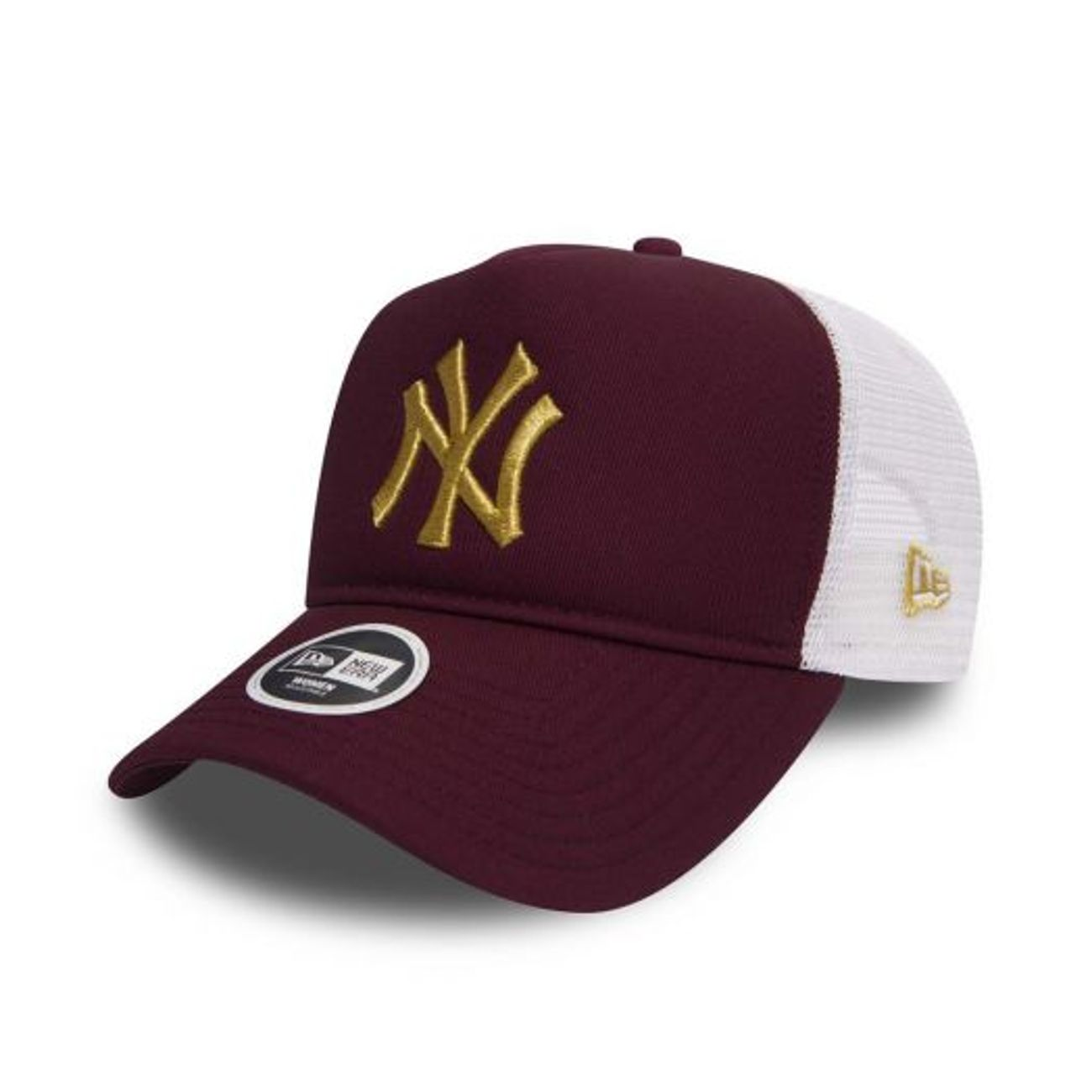 49f3bed6626 casquette-trucker-femme -new-era-new-york-yankees-essential-truck-bordeaux-or 1 v3.jpeg