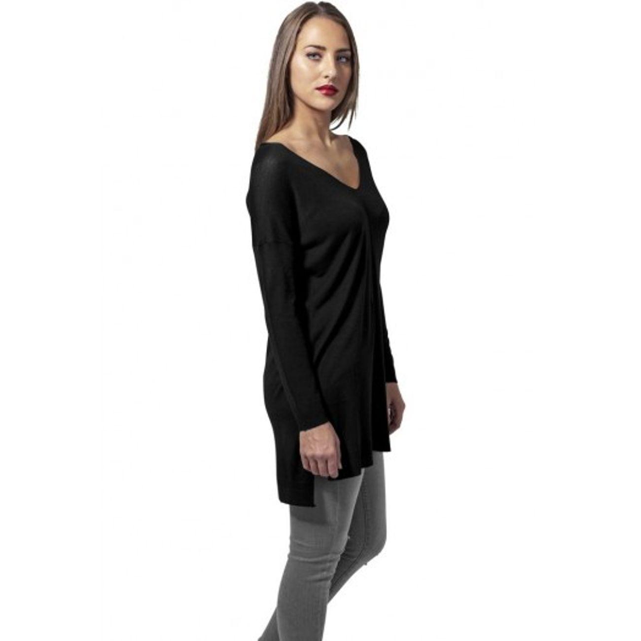 f37c1e97aa ... Mode- Lifestyle femme URBAN CLASSICS Pull Long Col V Urban Classics Noir  ...