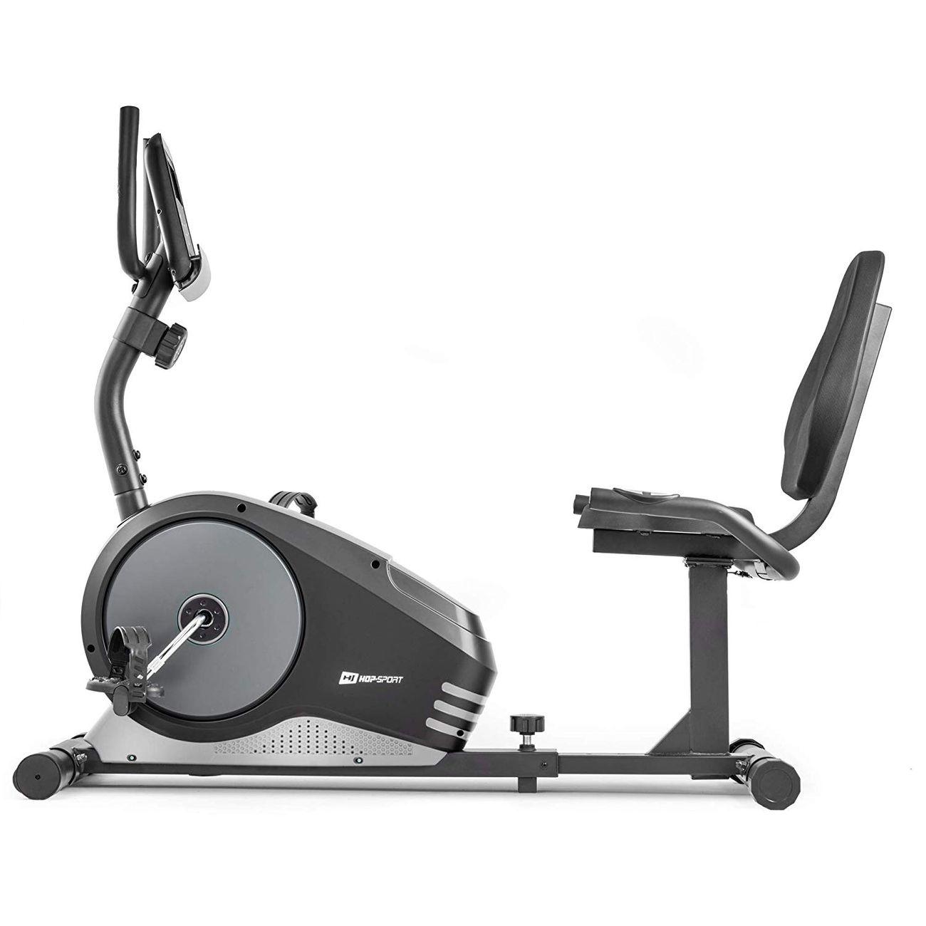 HS HOP SPORT Hop-Sport Vélo d'Appartement Semi-allongé HS-040L Root vélo Assis Max 120 kg (Argenté)