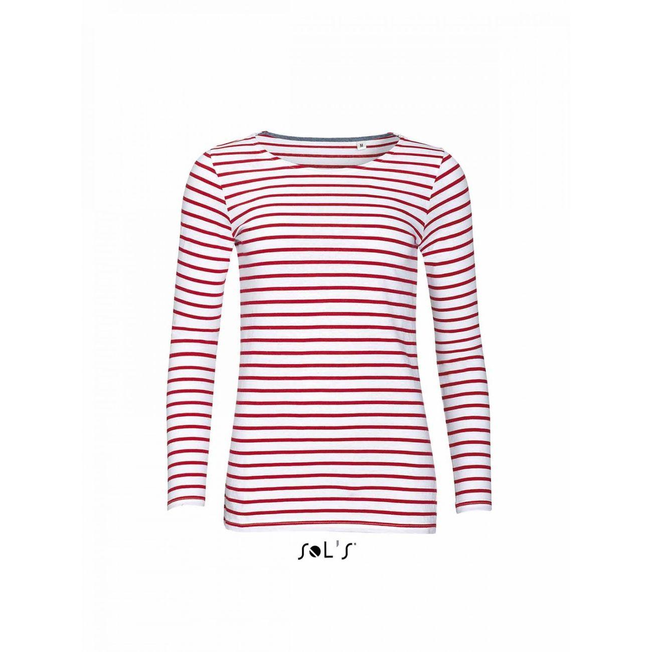 Mode- Lifestyle femme SOL S t-shirt rayé marinière femme - manches longues - 01403 - rouge