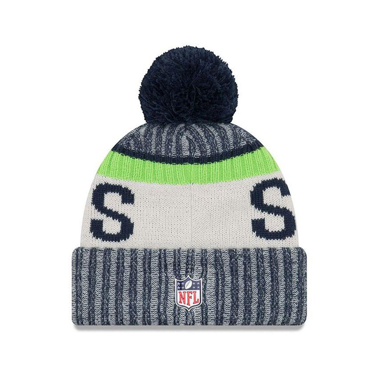 Mode- Lifestyle adulte NEW ERA Bonnet Pompon New Era Seattle Seahawks Doublé Polaire NFL On Field Sport Knit