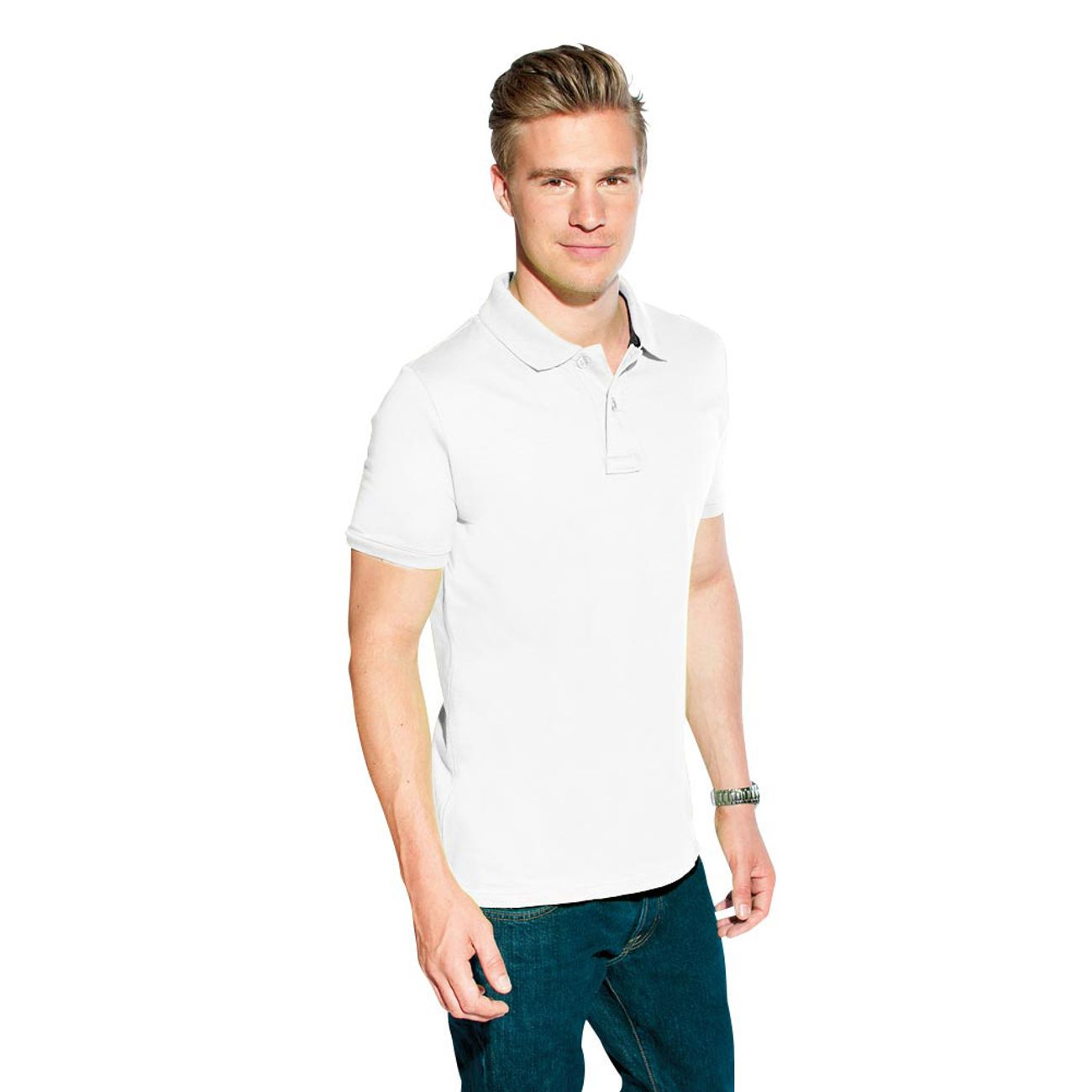 Polo Jersey simple Hommes, vert lime sauvage / noir