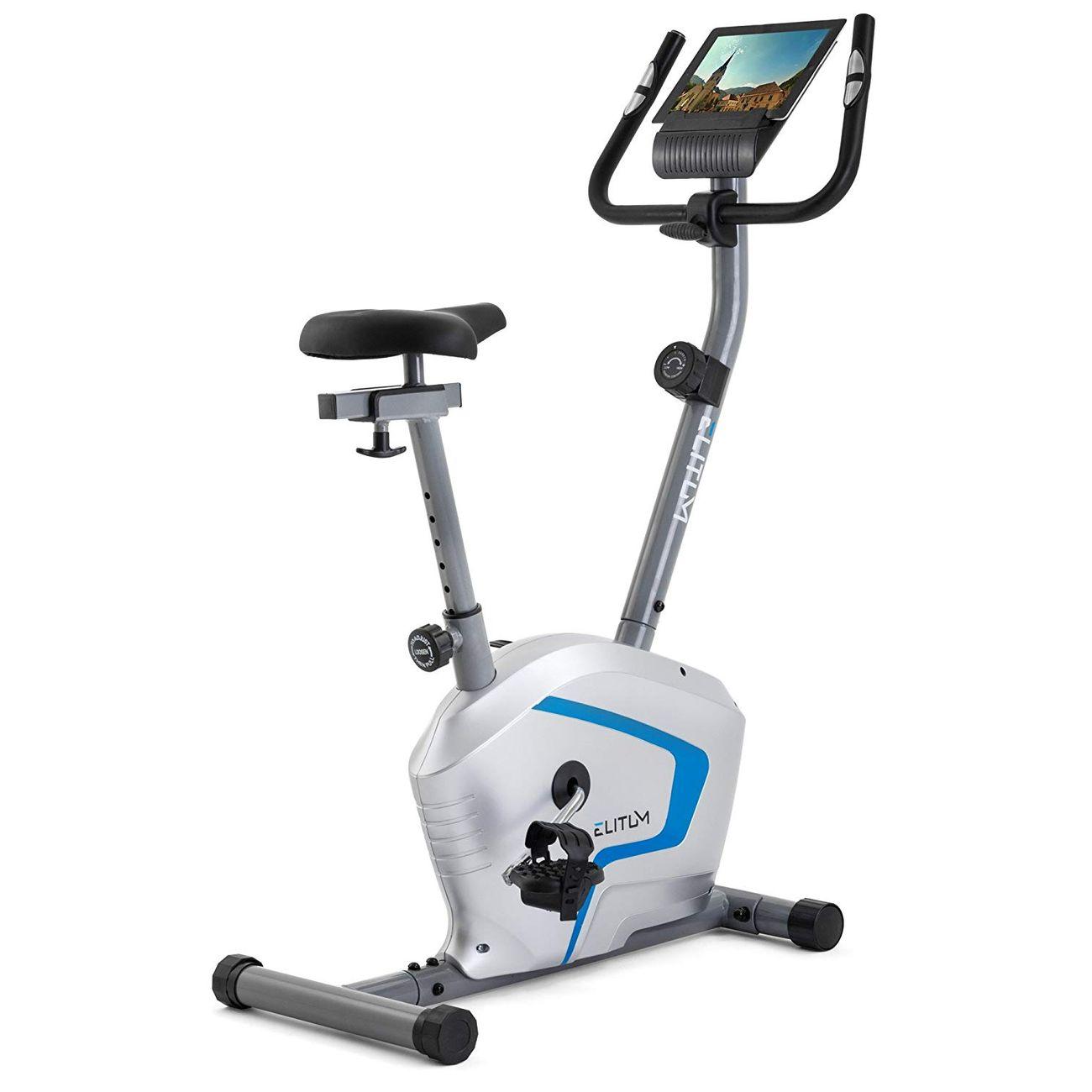 ELITUM Vélo d'appartement RX300 Vélo fitness; Ergomètre; Ordinateur; Capteurs de fréquence cardiaque; Argenté