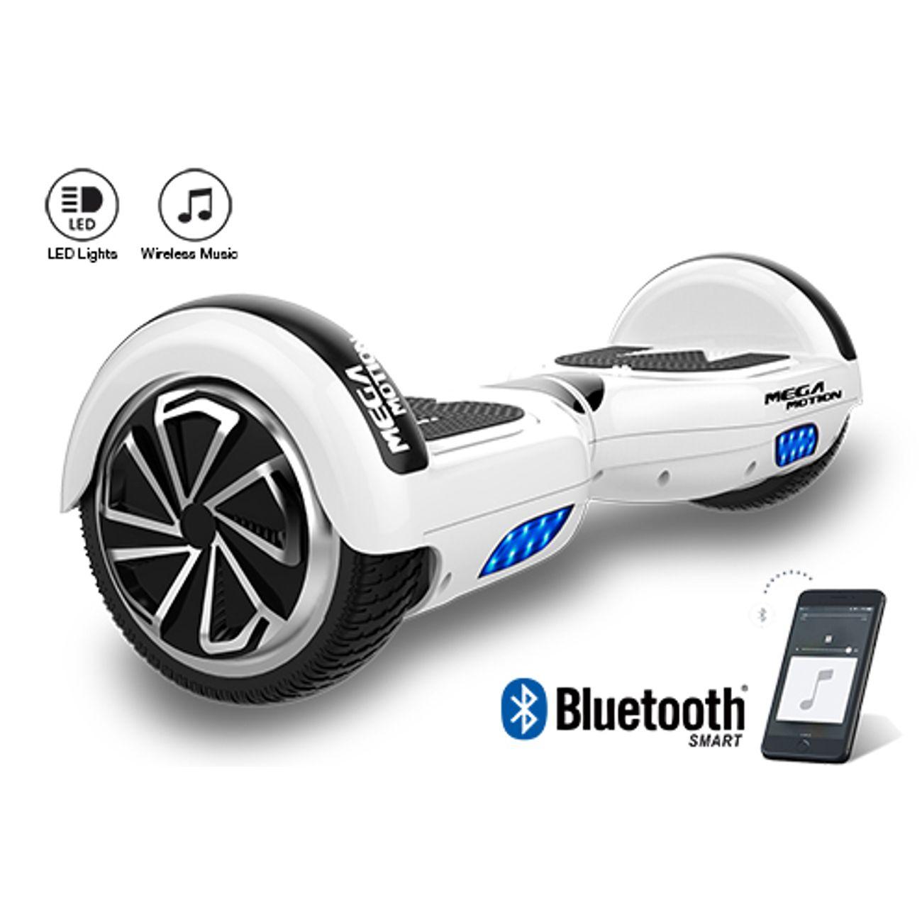 Glisse urbaine  MEGA MOTION Mega Motion Hoverboard Gyropode 6.5 pouces bluetooth Blanc+Équipement de protection sportive pour hoverboard, skate, vélo, skateboard, Ensemble protecteur, Size L-Rose