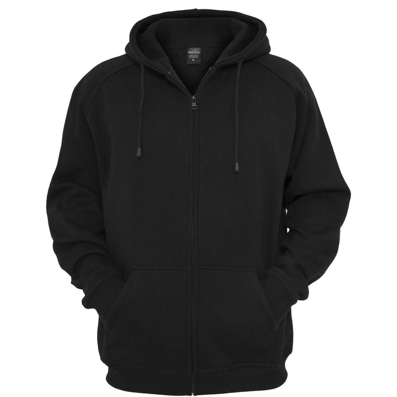 Mode Lifestyle adulte URBAN CLASSICS Sweat zippé URBAN CLASSICS large en molleton Noir