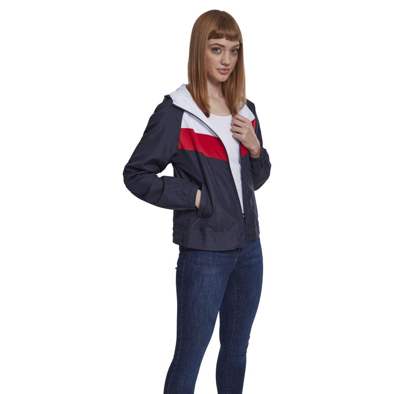 Loisirs femme URBAN CLASSICS Coupe-vent à capuche tricolore rétro doublé en mesh