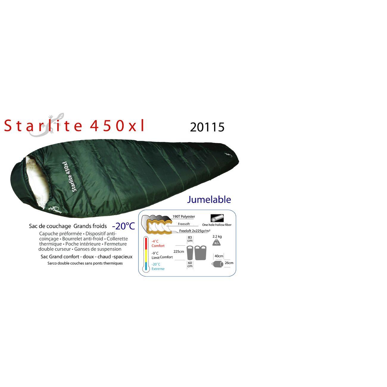 Camping  FREETIME Starlite 450xl STARLITE 450XL-sacs de couchage grand froids-Sacs de couchage - 20°C - sac  4 saisons