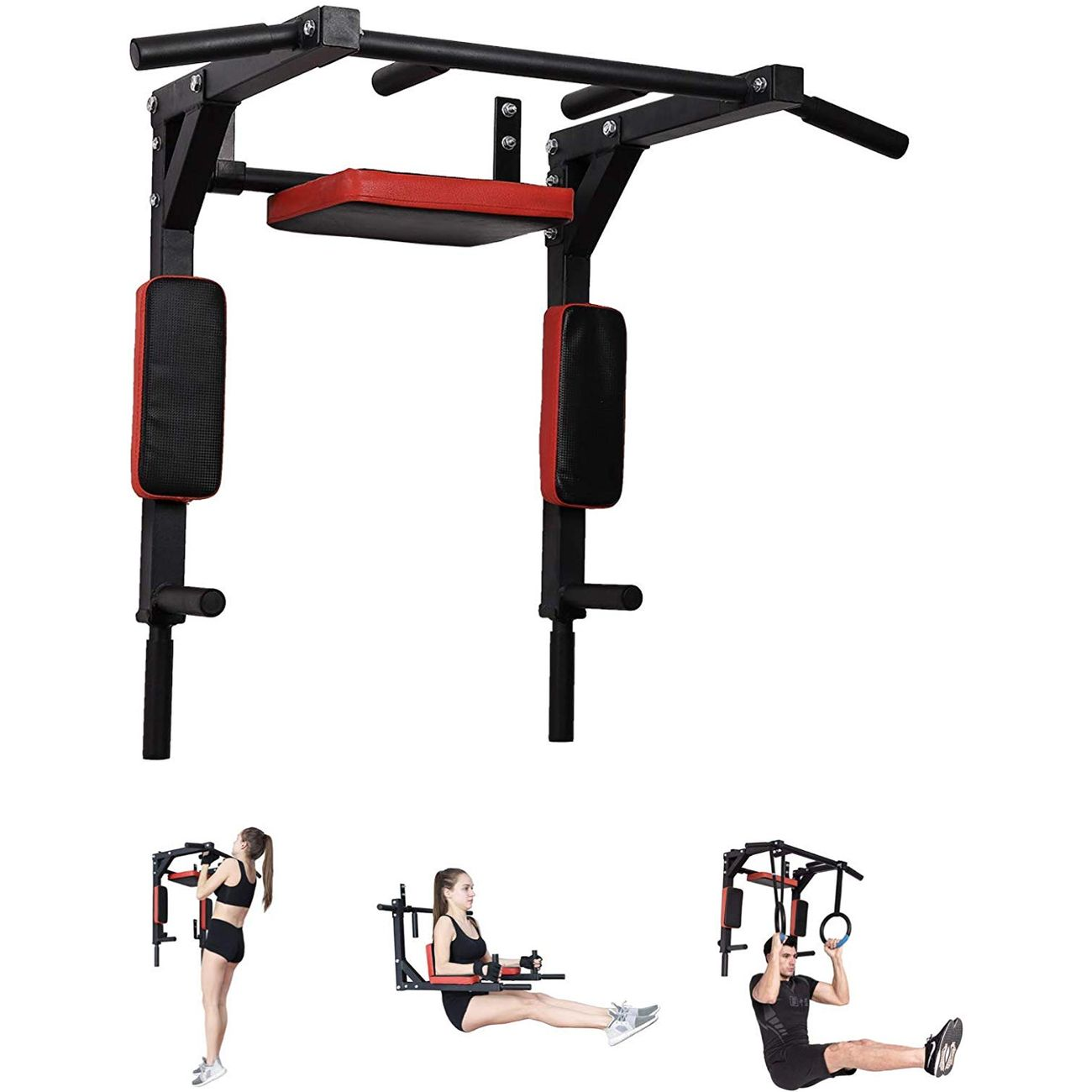 PULL UP FITNESS Pull Up Fitness - Barre de Traction Fixation Murale, Noir/Rouge
