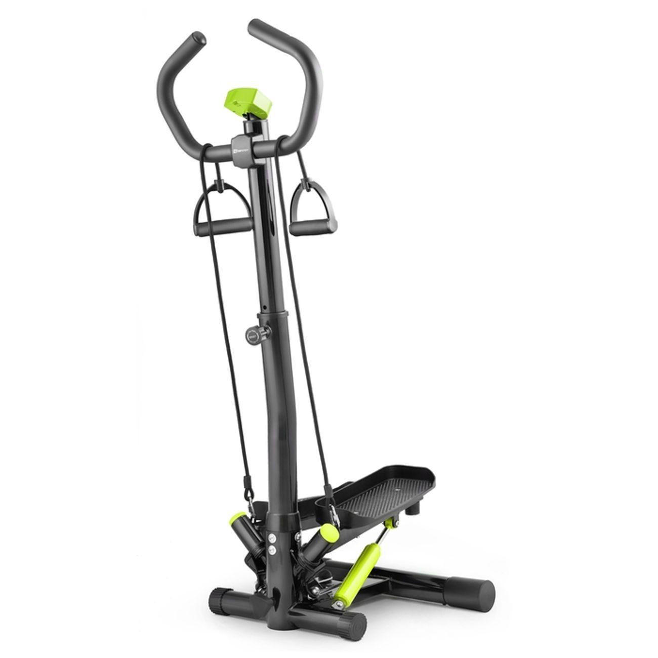 Fitness  HS HOP SPORT Stepper Rotatif Noble HS-055S – Guidon avec Cordes élastiques – Compteur électronique – Hauteur réglable – Max. 100 kg. (Noir/Lime)