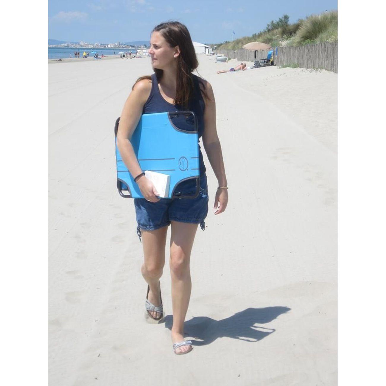 Plage  O'CAMP Chaise de plage Bleu turquoise - O'Beach - Dimensions : 45 x 163  x 44 cm