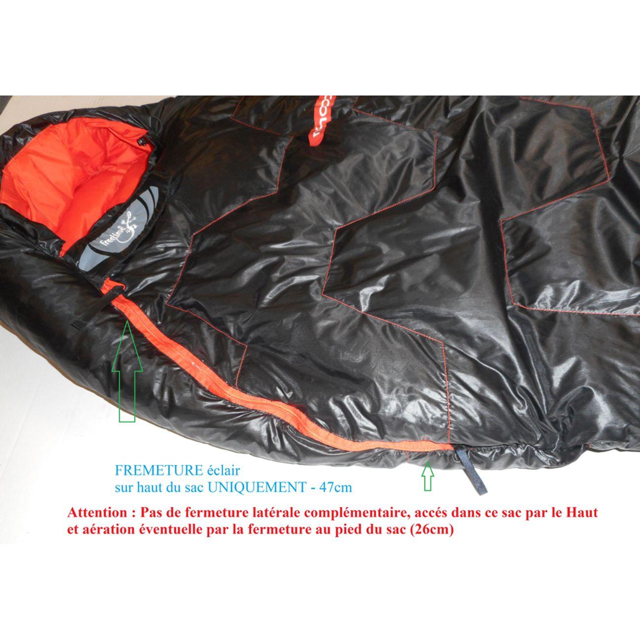 Randonnée  FREETIME NANOPAK 400 D - Sac couchage léger 0.380kg - zip Droit-compact, duvet Plume -6°C