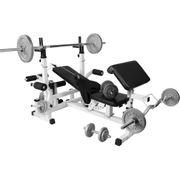 Gorilla Sports - Banc de musculation universel GS005 + Set haltères disques en fonte et Barres 108KG