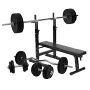 Gorilla Sports - Banc de musculation GS006 + Set haltères disques en plastiques et Barres 100KG