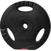 Gorilla Sports - Poids disque en plastique de 15 kg avec poignées