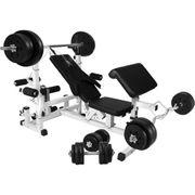 Gorilla Sports - Banc de musculation universel GS005 + Set haltères disques plastiques et Barres 100kg